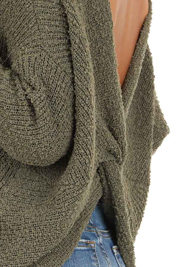 Olive Long Sleeve Knit Sweater Top with Back Twist Detail detail