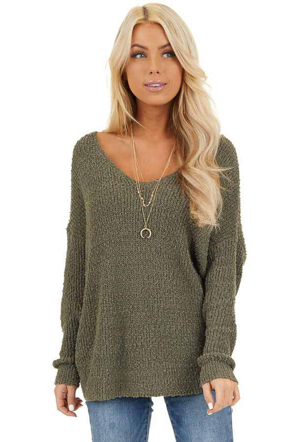 Olive Long Sleeve Knit Sweater Top with Back Twist Detail front close up