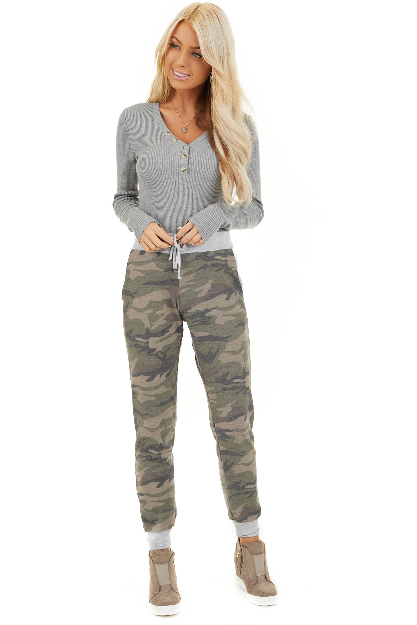 Olive Camo Print Jogger Pants with Drawstring and Pockets front full body