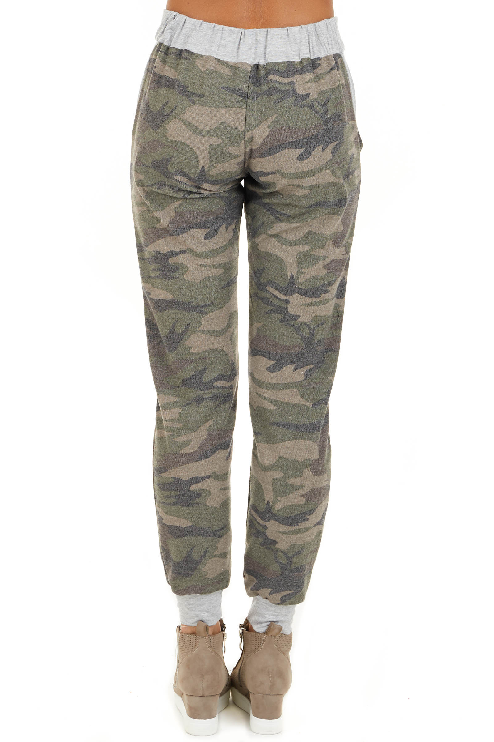 Olive Camo Print Jogger Pants with Drawstring and Pockets back view