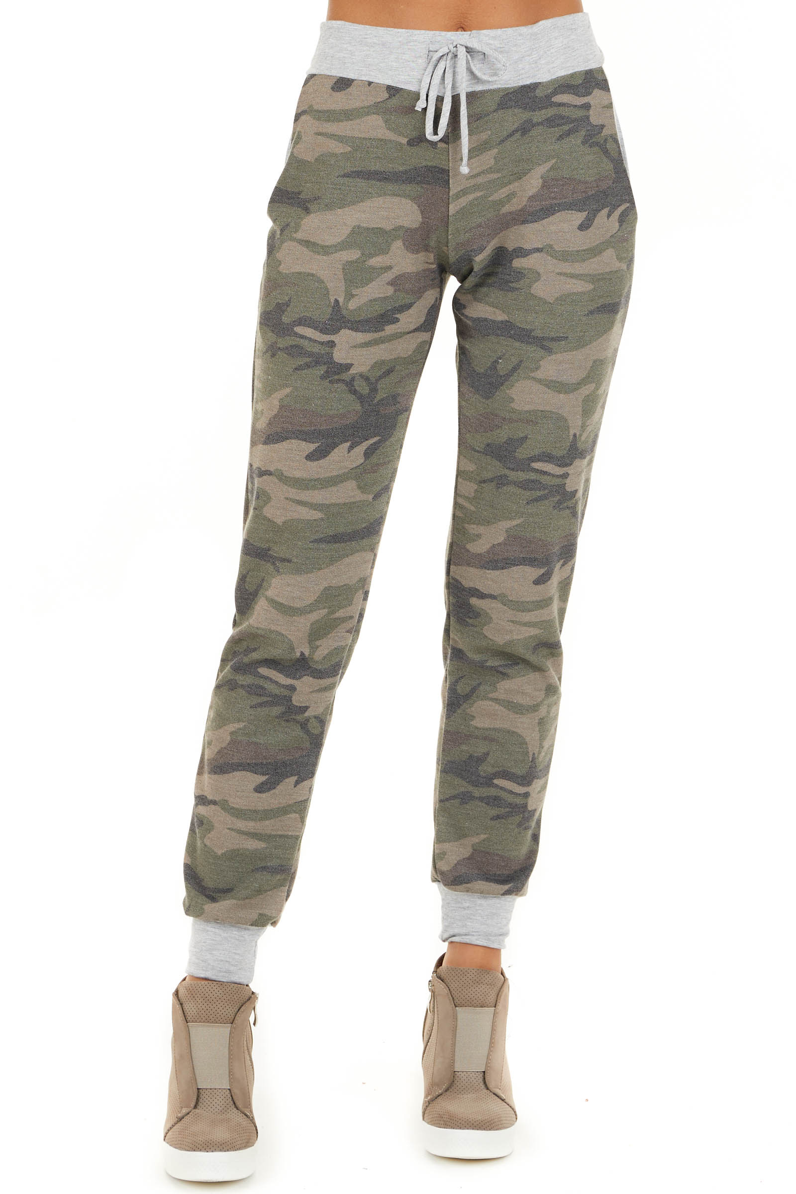 Olive Camo Print Jogger Pants with Drawstring and Pockets front view