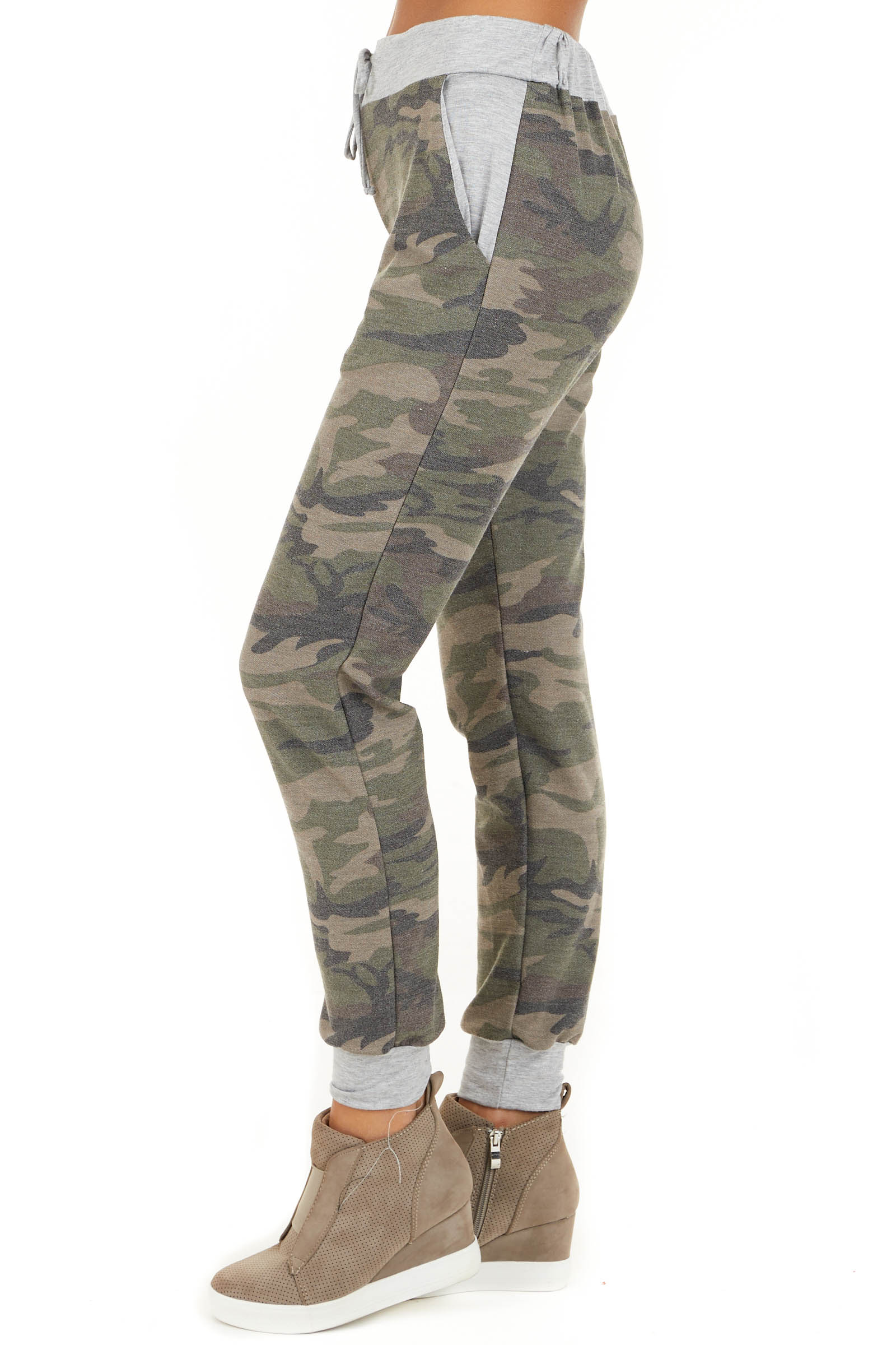 Olive Camo Print Jogger Pants with Drawstring and Pockets side view