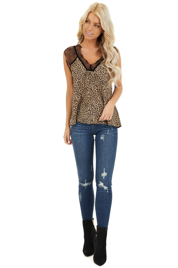 Tan Leopard Print Sleeveless Top with Eyelash Lace Details front full body