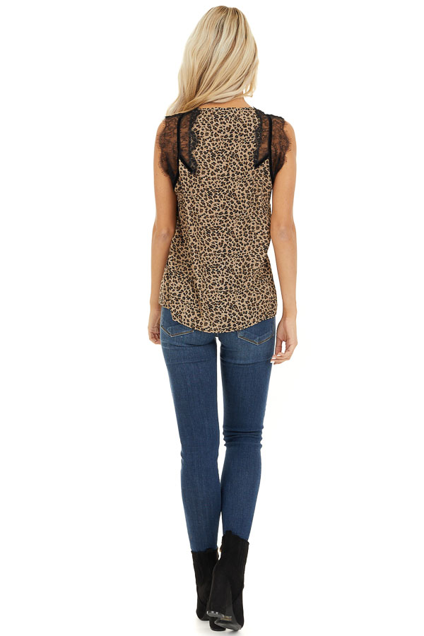 Tan Leopard Print Sleeveless Top with Eyelash Lace Details back full body