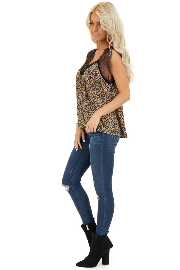 Tan Leopard Print Sleeveless Top with Eyelash Lace Details side full body