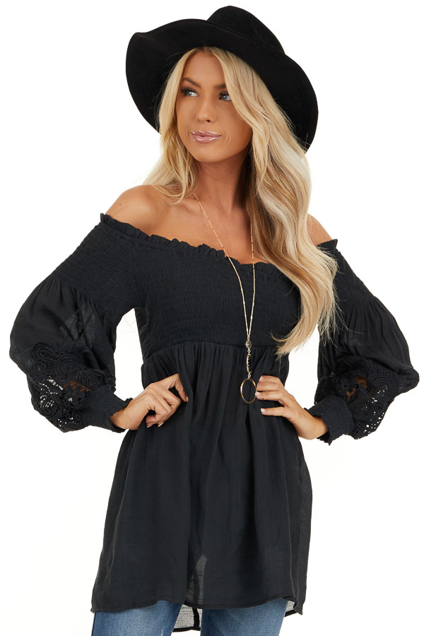 Black Off Shoulder Smocked Tunic Top with Lace Details front close up