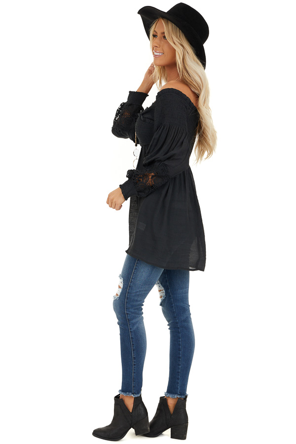 Black Off Shoulder Smocked Tunic Top with Lace Details side full body