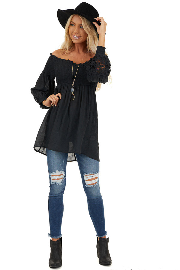 Black Off Shoulder Smocked Tunic Top with Lace Details front full body