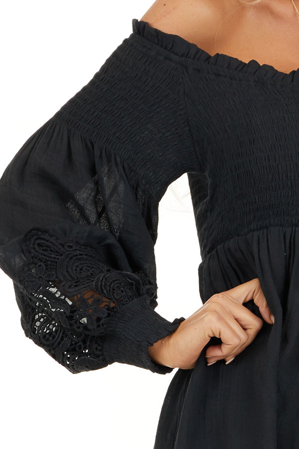 Black Off Shoulder Smocked Tunic Top with Lace Details detail