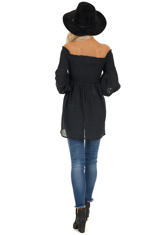 Black Off Shoulder Smocked Tunic Top with Lace Details back full body