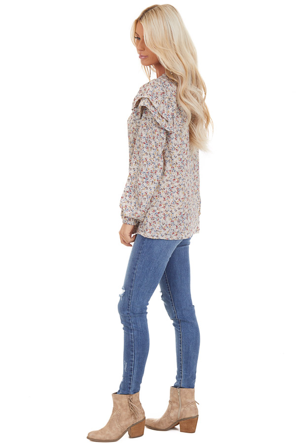Oatmeal Floral Print Long Sleeve Top with Ruffle Details side full body