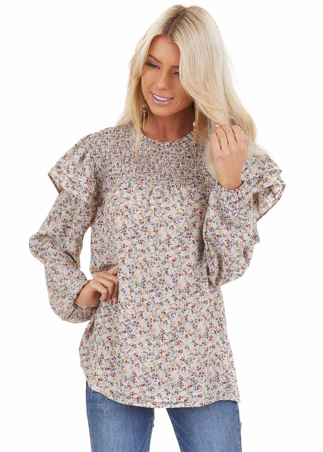 Oatmeal Floral Print Long Sleeve Top with Ruffle Details front close up
