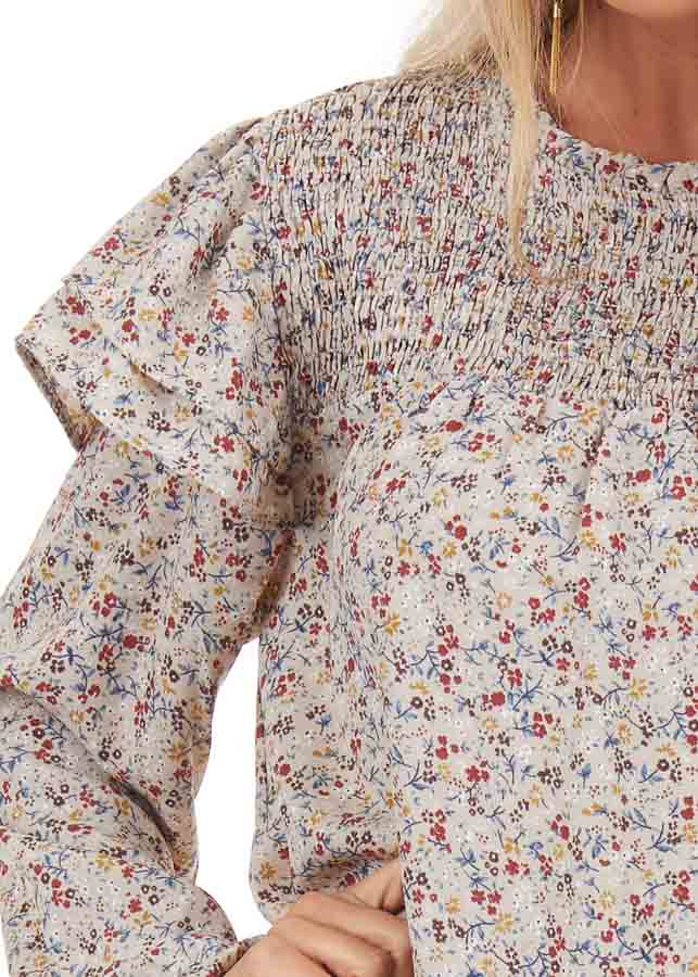 Oatmeal Floral Print Long Sleeve Top with Ruffle Details detail