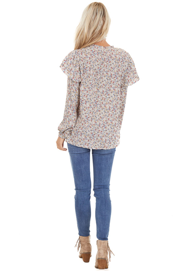 Oatmeal Floral Print Long Sleeve Top with Ruffle Details back full body