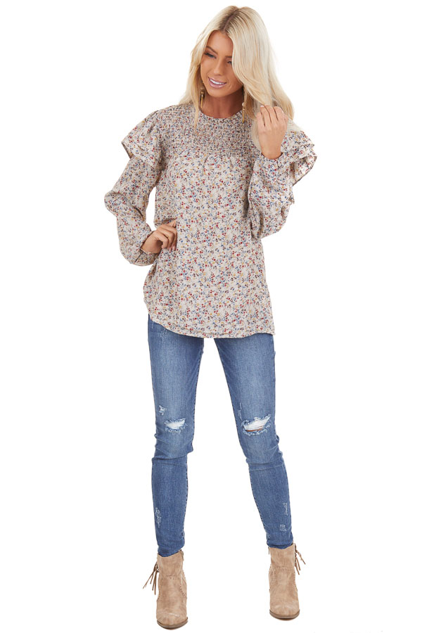 Oatmeal Floral Print Long Sleeve Top with Ruffle Details front full body