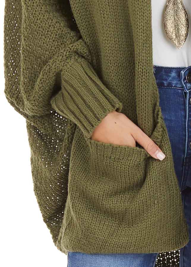 Olive Batwing Sleeve Knit Cardigan with Large Pockets detail