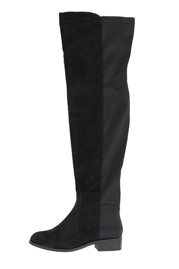 Black Combo Faux Suede Over the Knee Boots with Rounded Toe