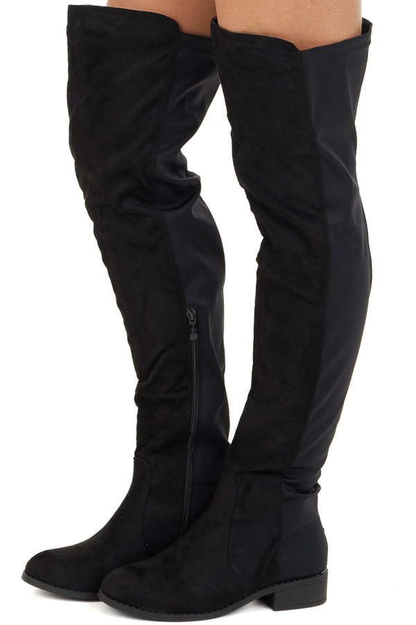 Black Combo Faux Suede Over the Knee Boots with Rounded Toe side view