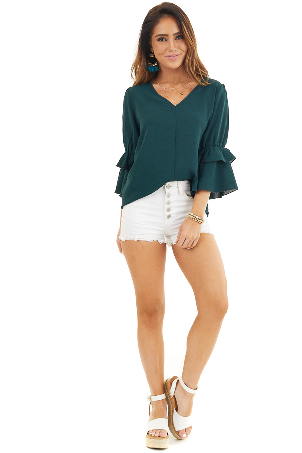 Hunter Green V Neck Top with 3/4 Ruffle Sleeves front full body