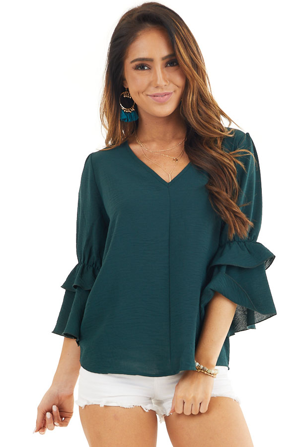 Hunter Green V Neck Top with 3/4 Ruffle Sleeves front close up
