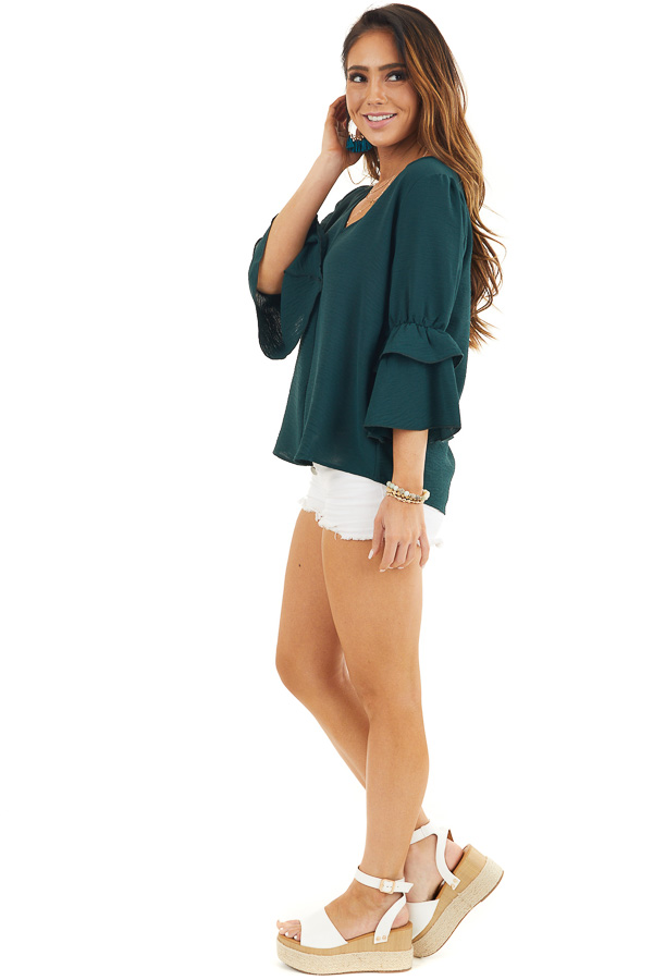 Hunter Green V Neck Top with 3/4 Ruffle Sleeves side full body