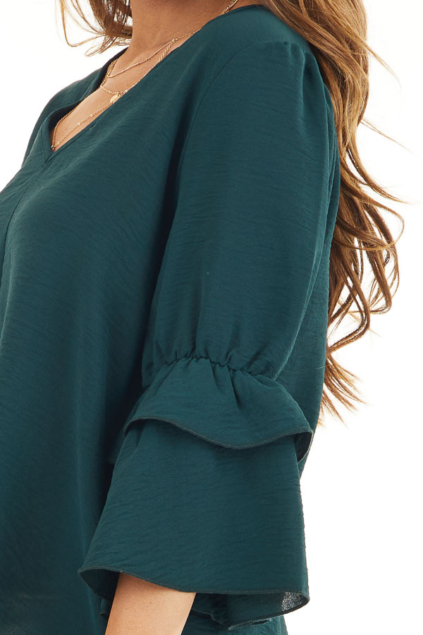 Hunter Green V Neck Top with 3/4 Ruffle Sleeves detail