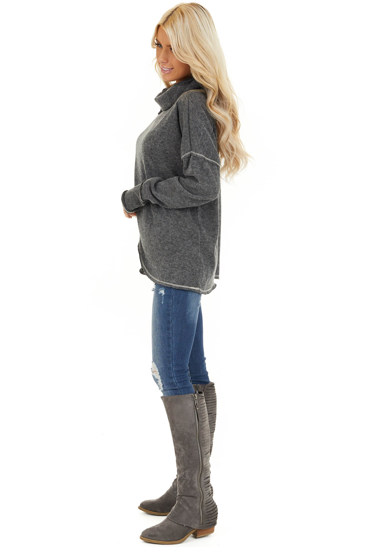 Charcoal Long Sleeve Top with Cowl Neck and Wrap Detail side full body
