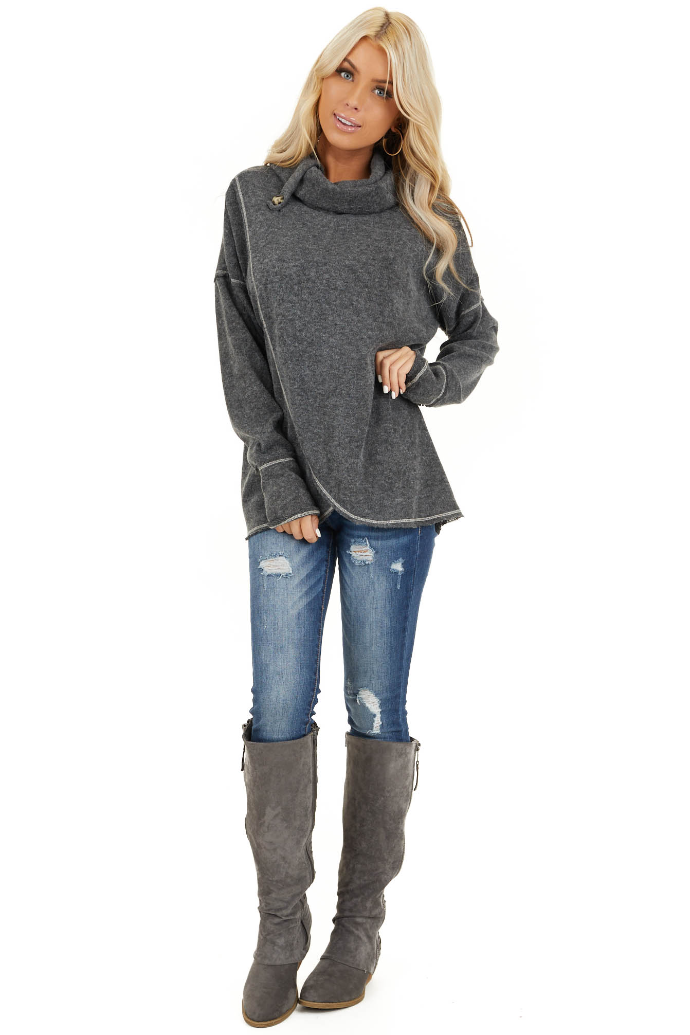 Charcoal Long Sleeve Top with Cowl Neck and Wrap Detail front full body