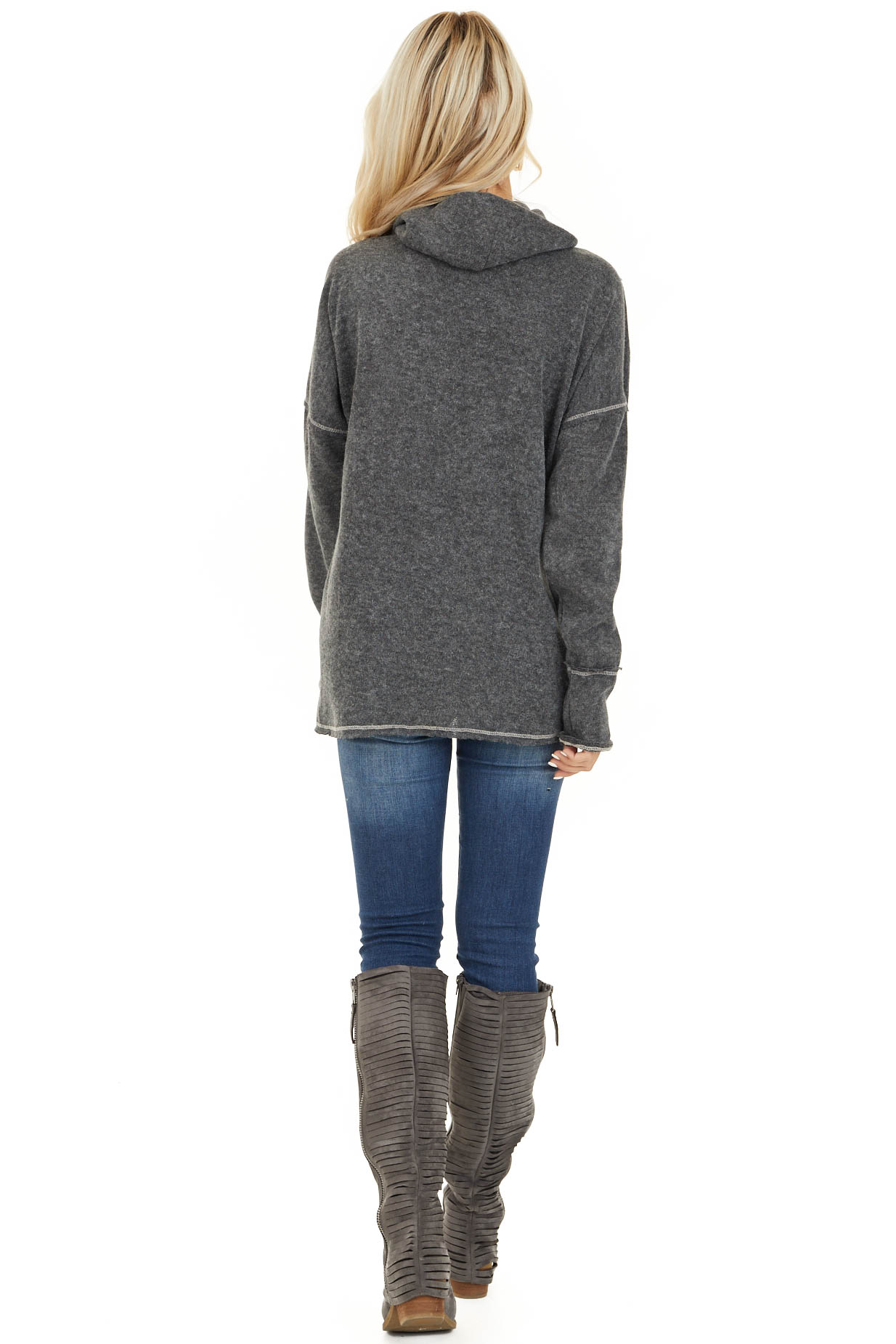 Charcoal Long Sleeve Top with Cowl Neck and Wrap Detail back full body