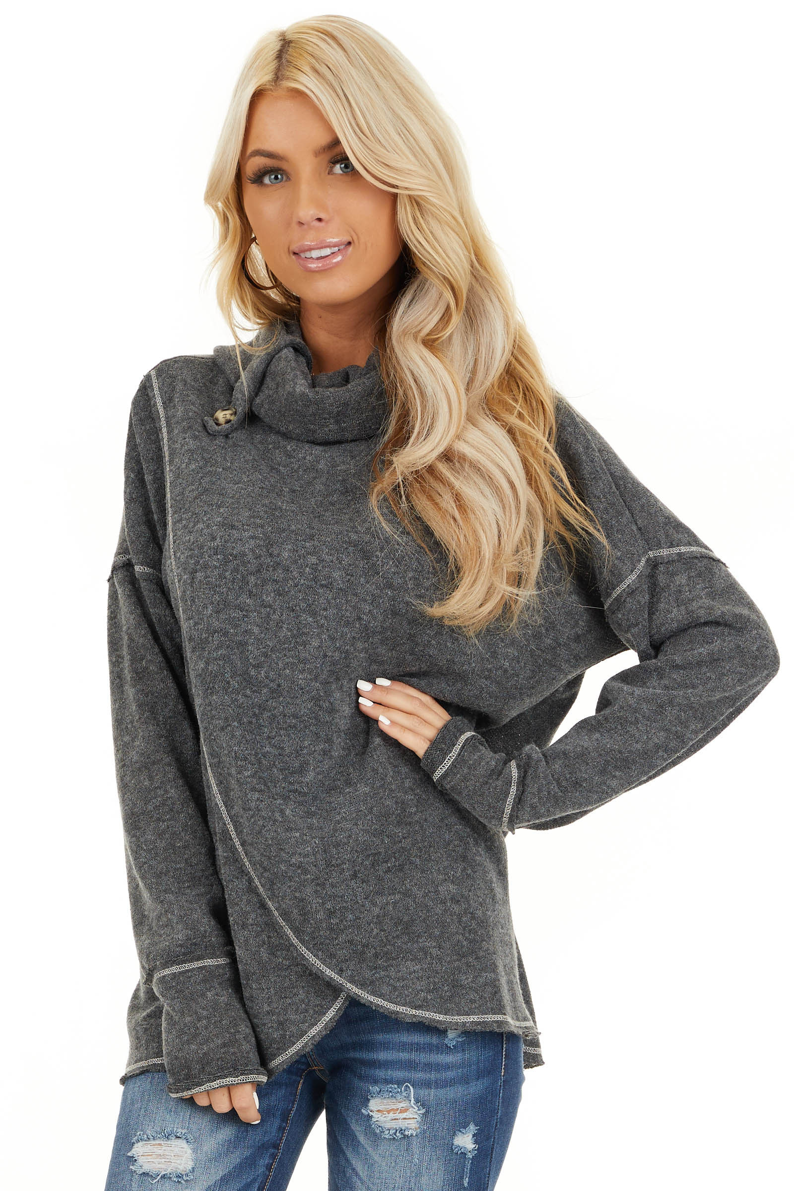 Charcoal Long Sleeve Top with Cowl Neck and Wrap Detail front close up