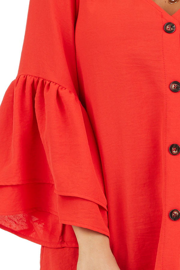 Lipstick Red Ruffle Sleeve Top with Button Detail detail