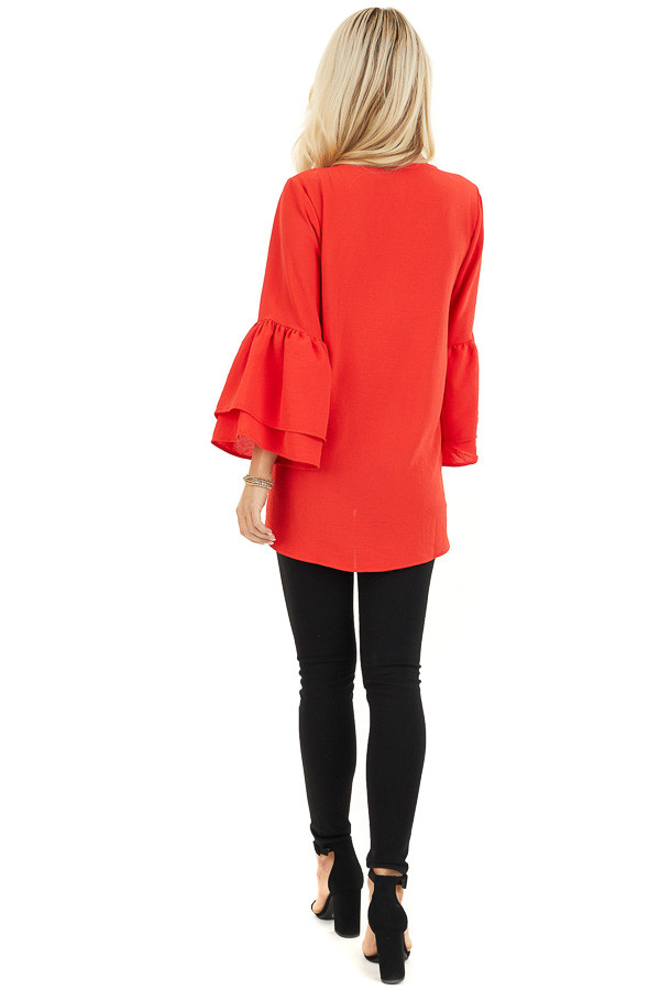 Lipstick Red Ruffle Sleeve Top with Button Detail back full body