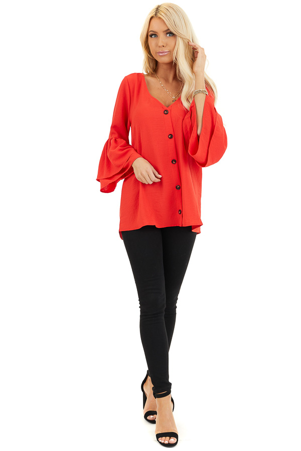 Lipstick Red Ruffle Sleeve Top with Button Detail front full body