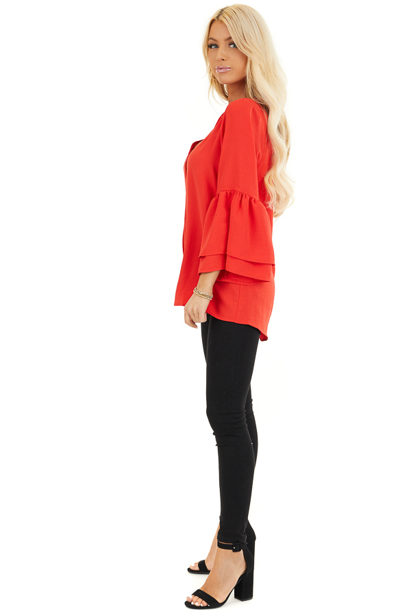 Lipstick Red Ruffle Sleeve Top with Button Detail side full body