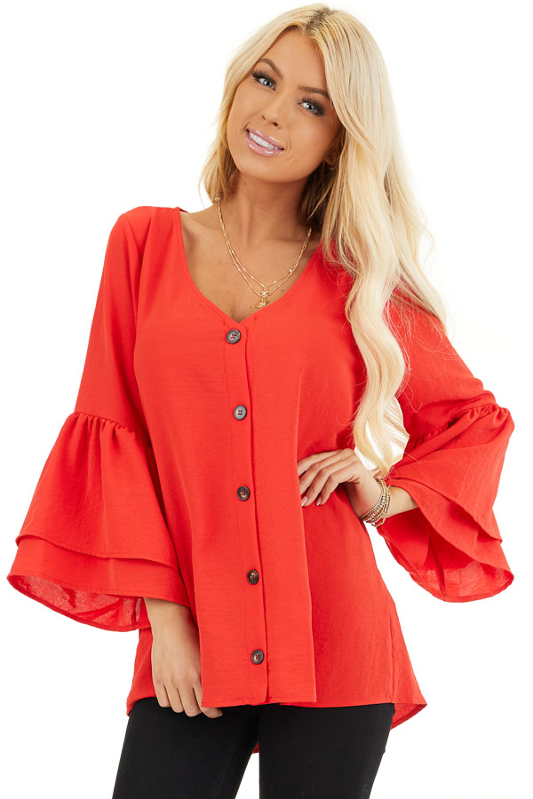 Lipstick Red Ruffle Sleeve Top with Button Detail front close up