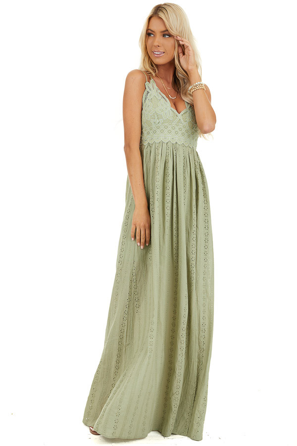 Pistachio Sleeveless Maxi Dress with Lace Bust front full body