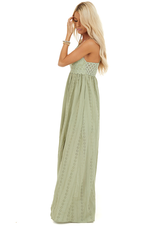 Pistachio Sleeveless Maxi Dress with Lace Bust side full body