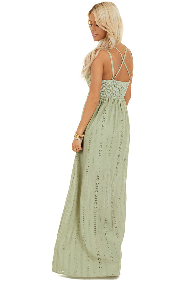 Pistachio Sleeveless Maxi Dress with Lace Bust back full body