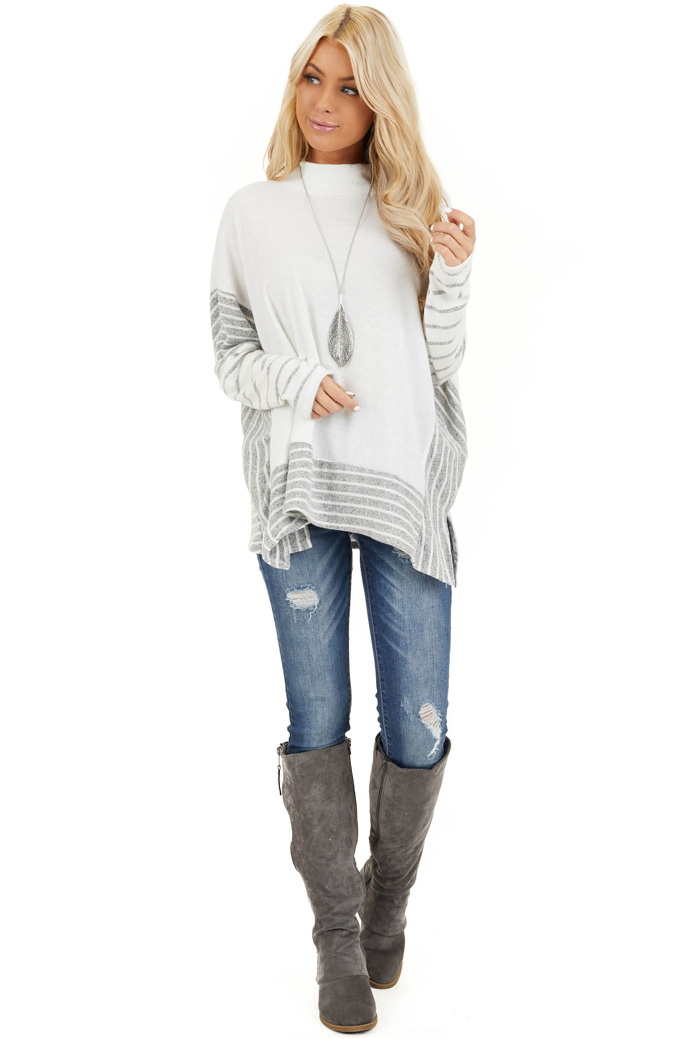 Ivory and Grey Striped Mock Neck Top with Dolman Sleeves front full body