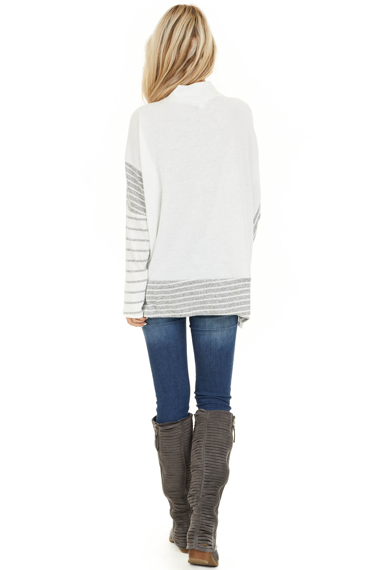Ivory and Grey Striped Mock Neck Top with Dolman Sleeves back full body