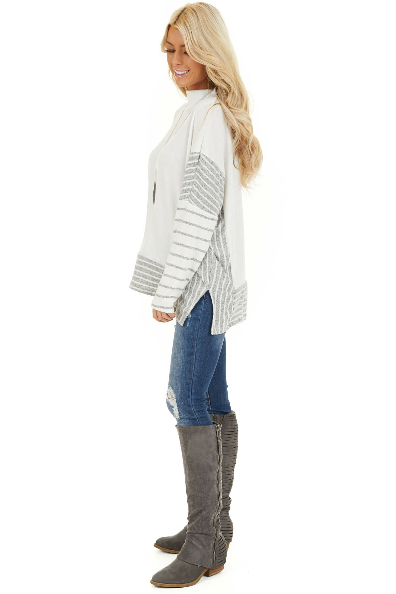 Ivory and Grey Striped Mock Neck Top with Dolman Sleeves side full body