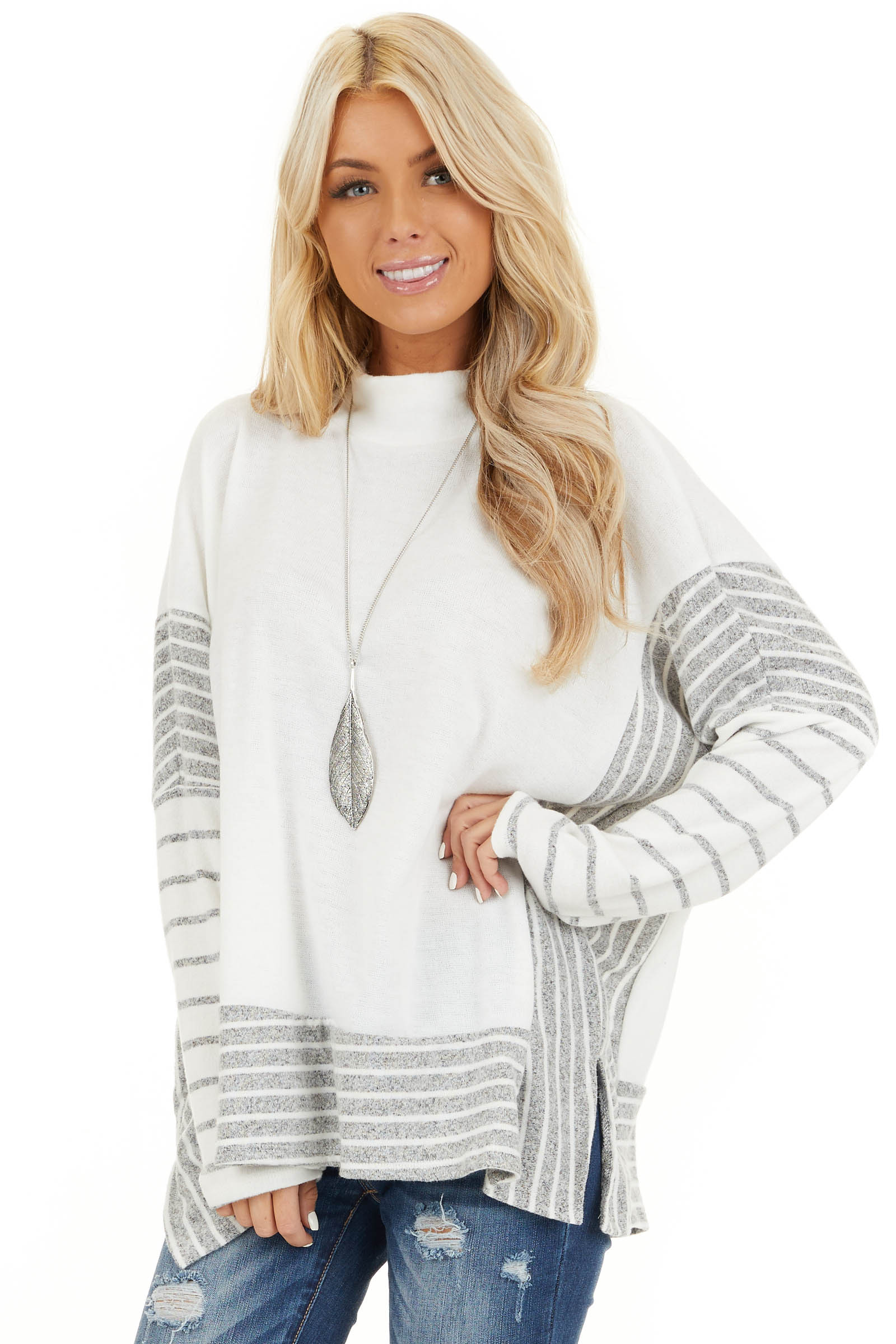 Ivory and Grey Striped Mock Neck Top with Dolman Sleeves front close up