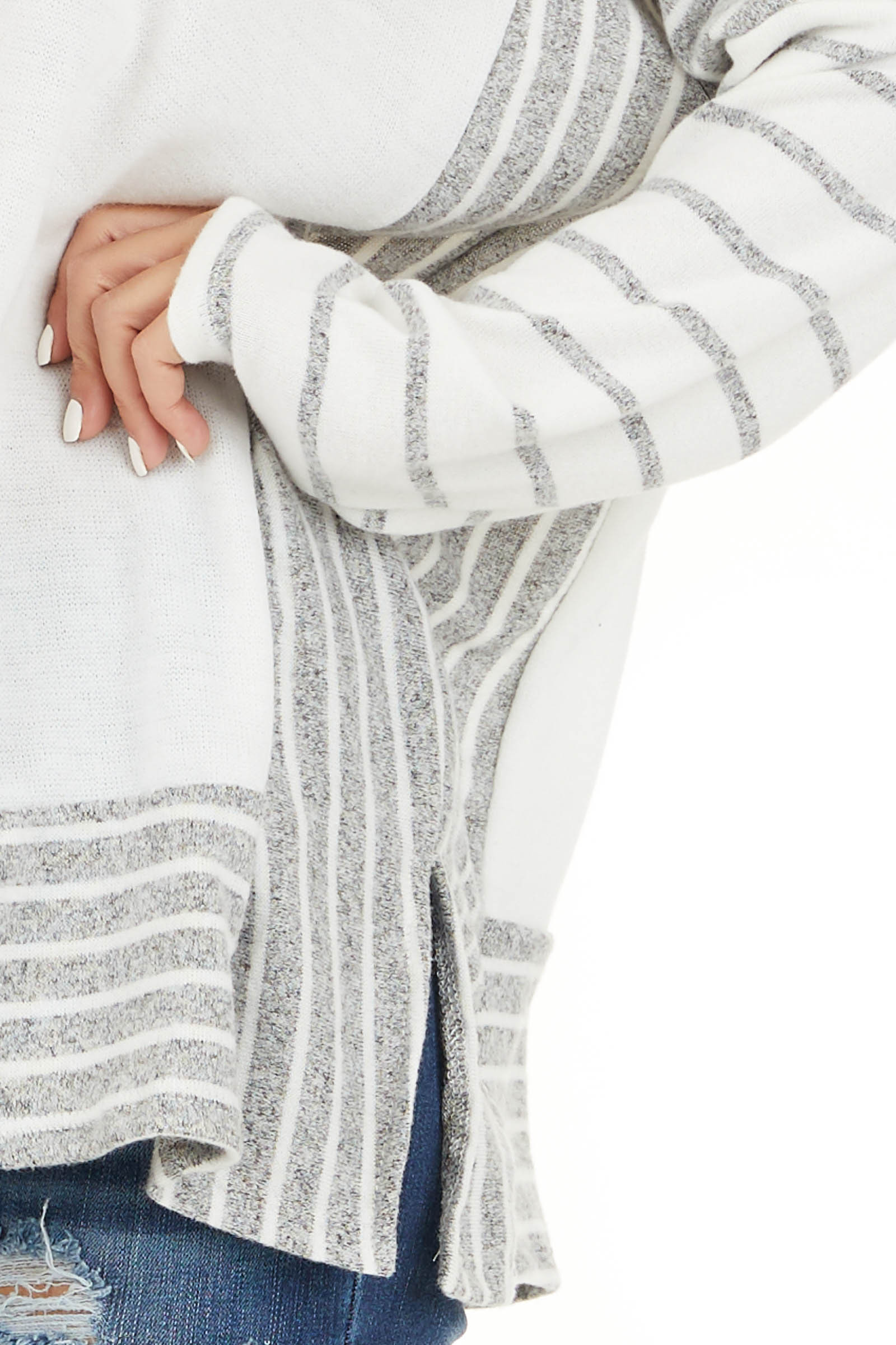 Ivory and Grey Striped Mock Neck Top with Dolman Sleeves detail