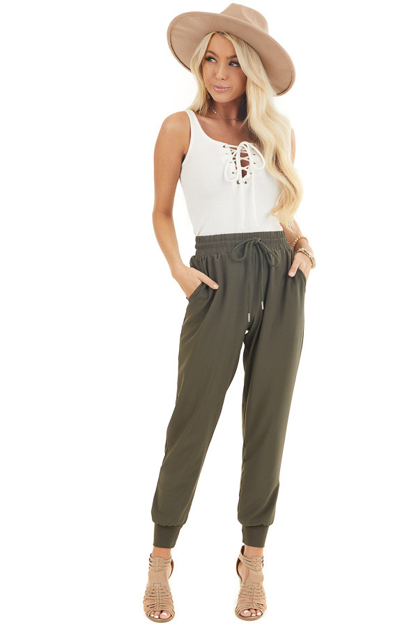 Olive Green Jogger Pants with Elastic Waist and Pockets front full body
