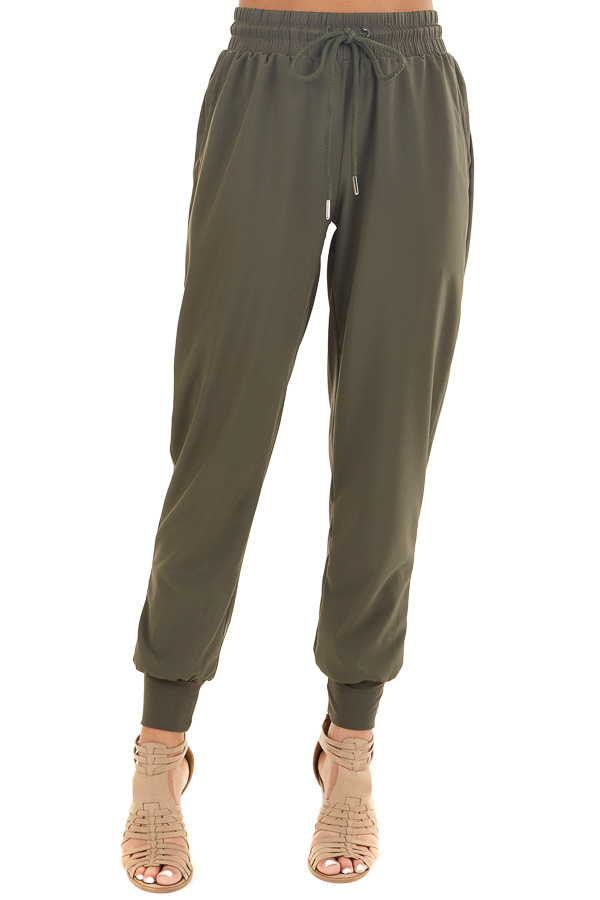 Olive Green Jogger Pants with Elastic Waist and Pockets front view