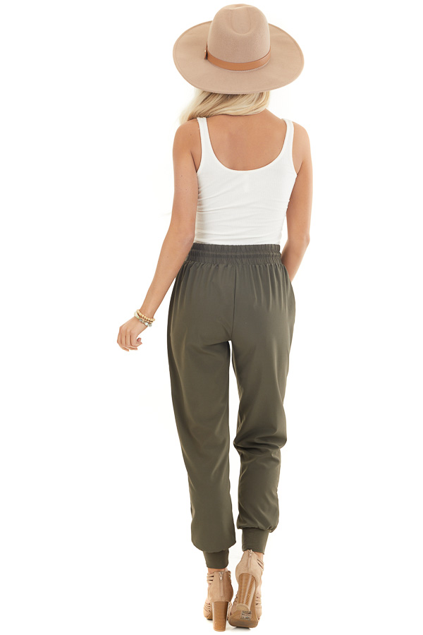 Olive Green Jogger Pants with Elastic Waist and Pockets back full body