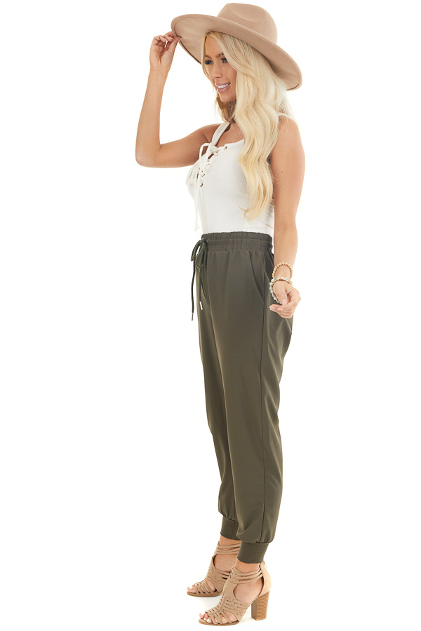 Olive Green Jogger Pants with Elastic Waist and Pockets side full body