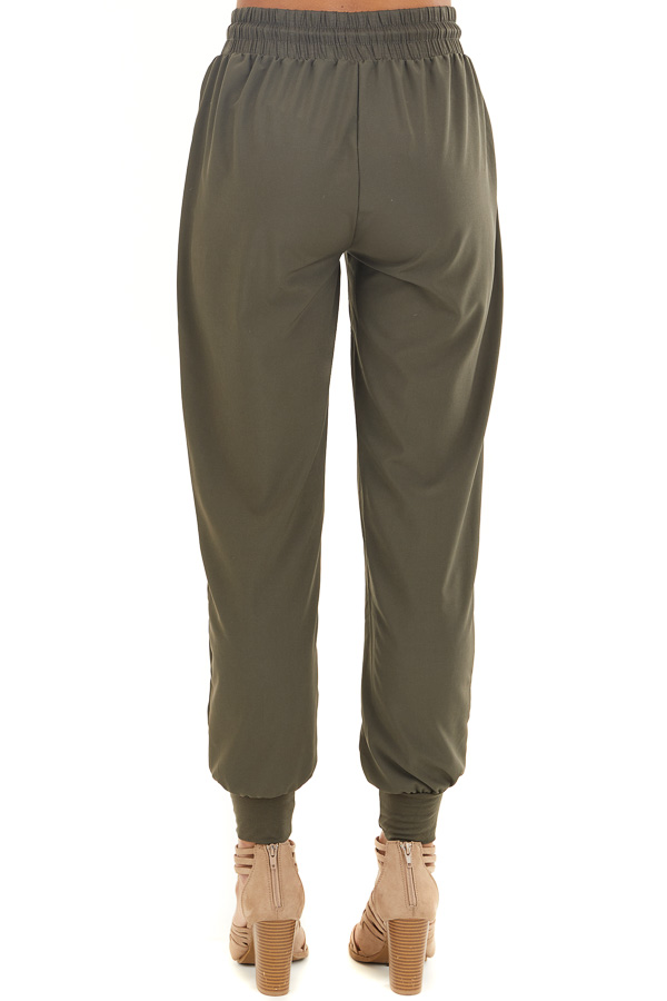 Olive Green Jogger Pants with Elastic Waist and Pockets back view