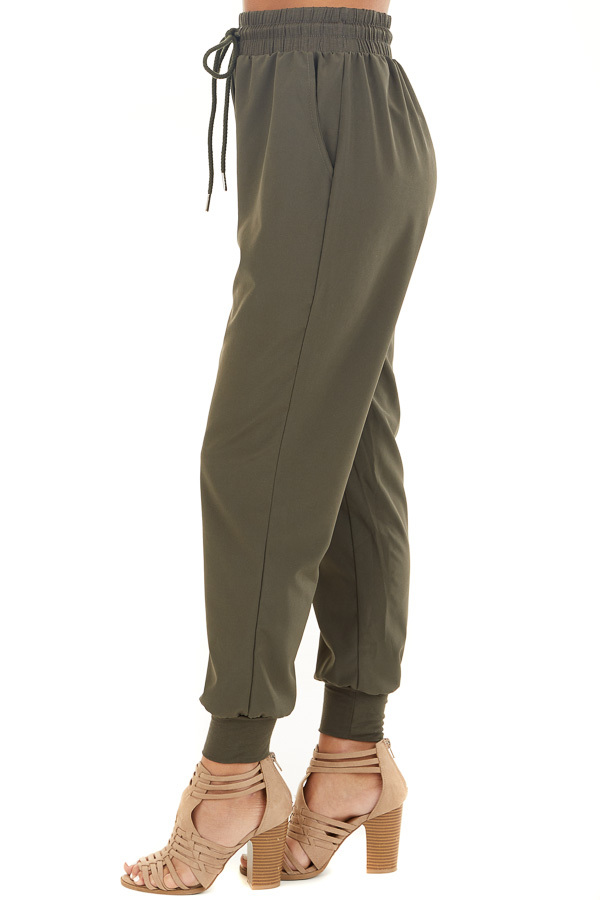 Olive Green Jogger Pants with Elastic Waist and Pockets side view