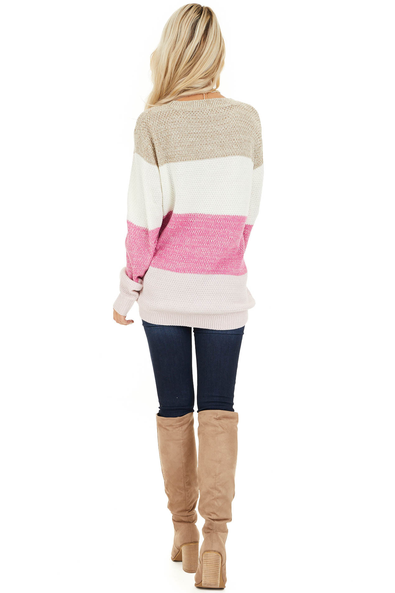 Fuchsia Multi Colored Striped Long Sleeve Knit Sweater back full body